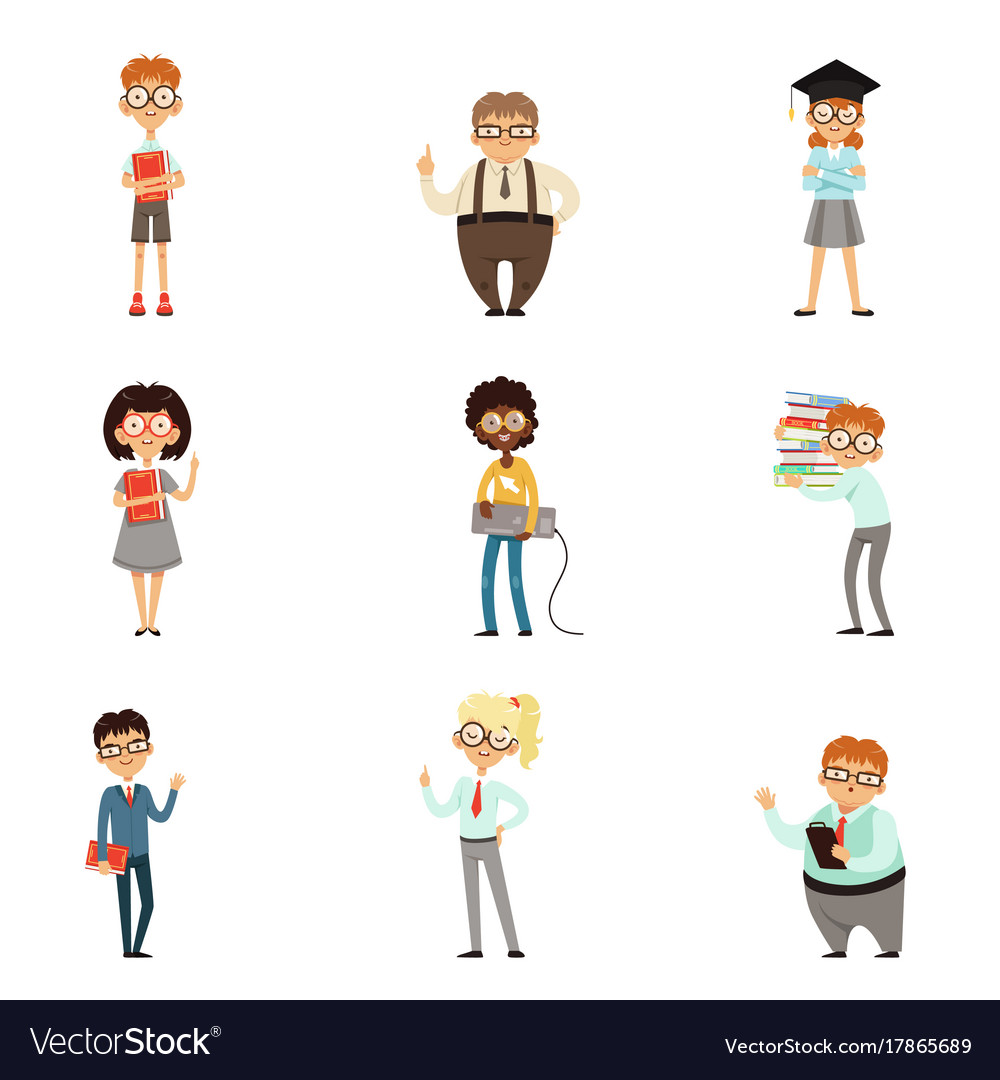 Smart kids with books set vector image