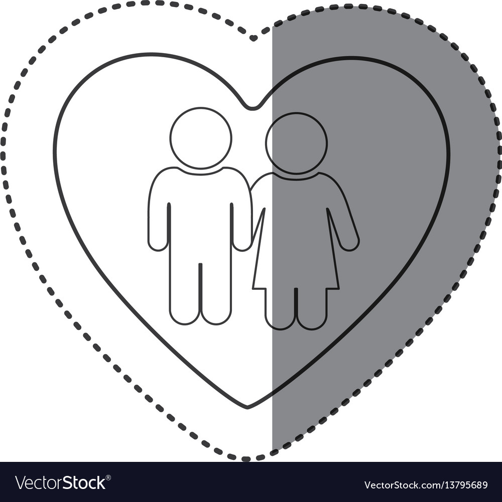 Sticker of monochrome silhouette of heart and
