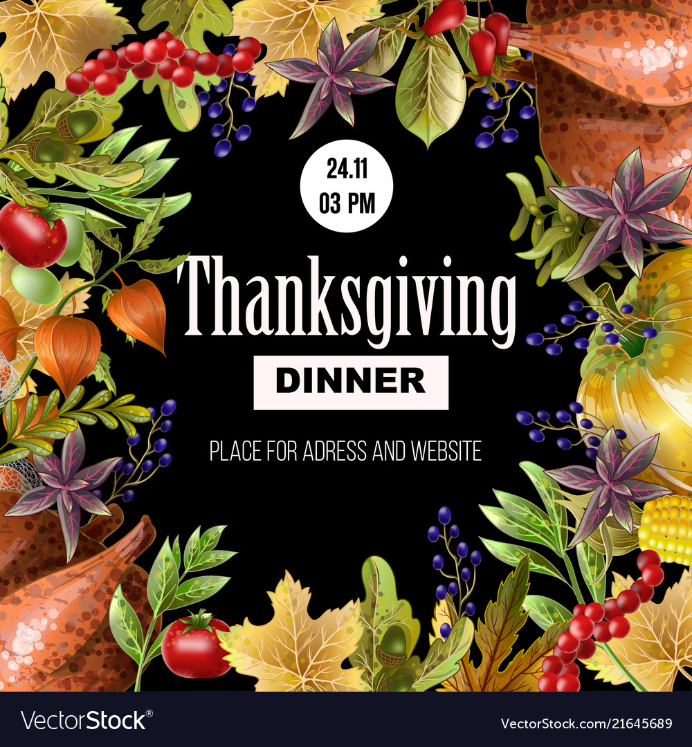 Thanksgiving dinner poster with autumn leaves
