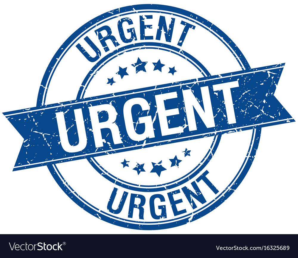 Urgent grunge retro blue isolated ribbon stamp vector image