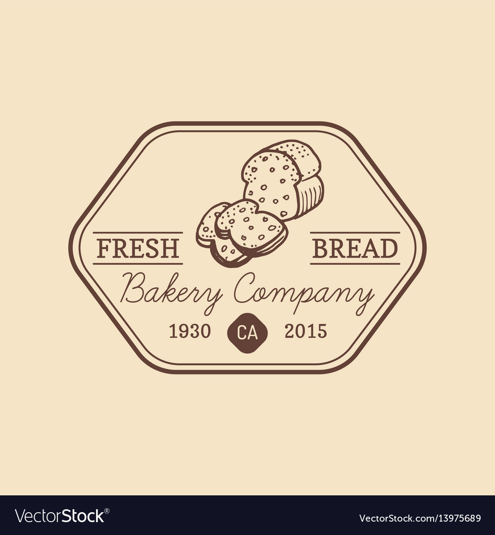 Vintage fresh bread logo retro hipster