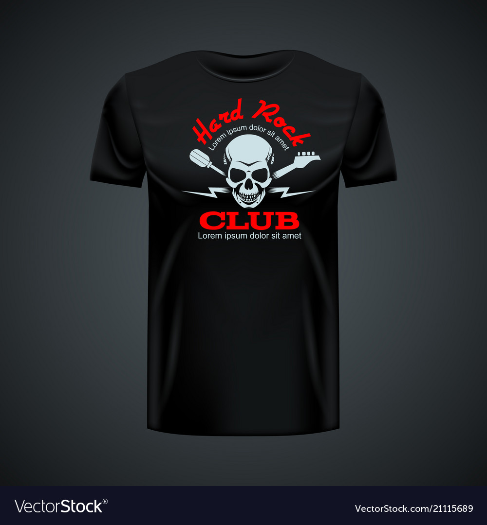 Vintage t-shirt template with hard rock club