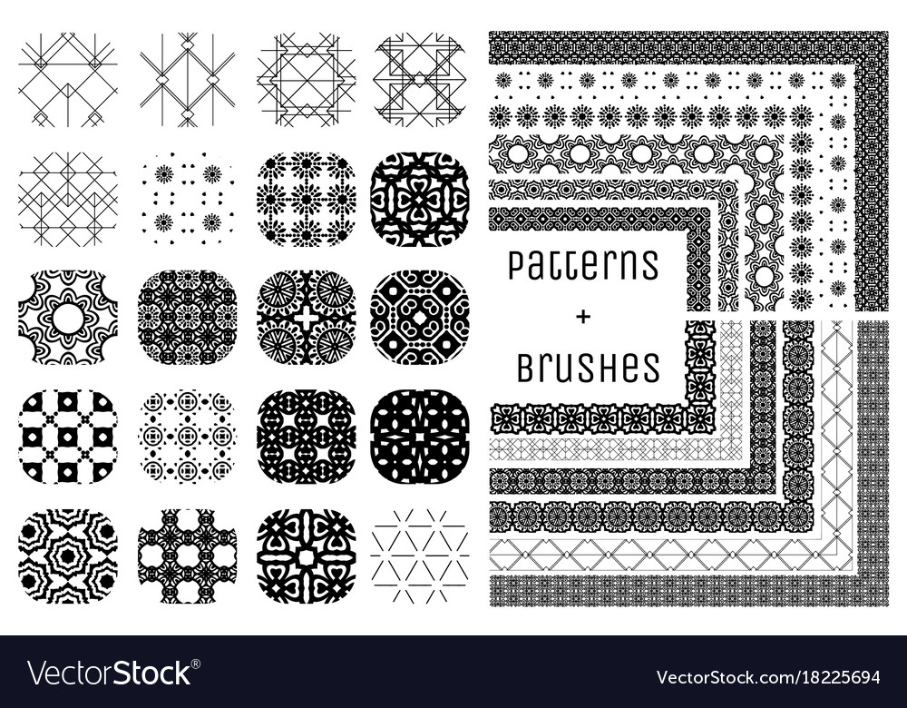 20 geometric patterns and 12 pattern vector image