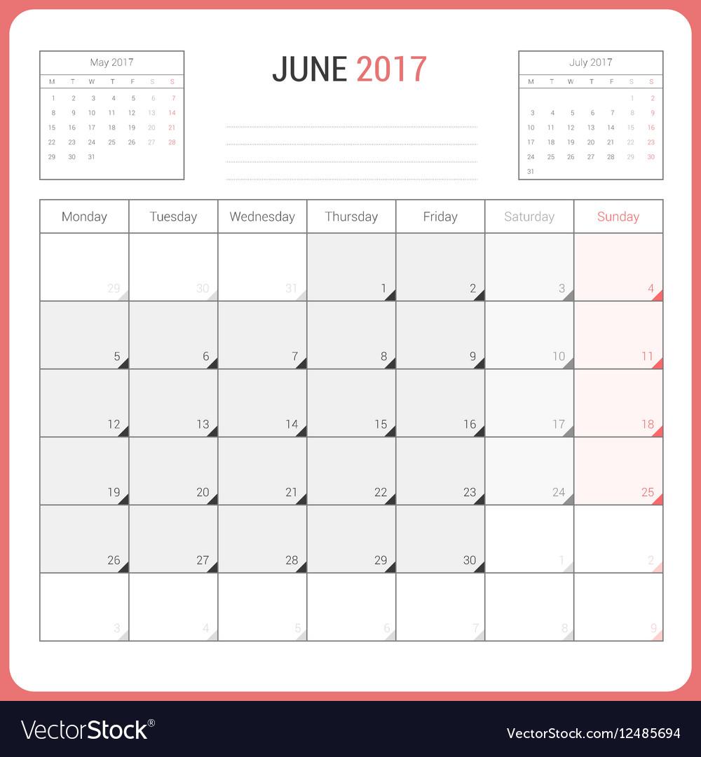Calendar Planner for June 2017