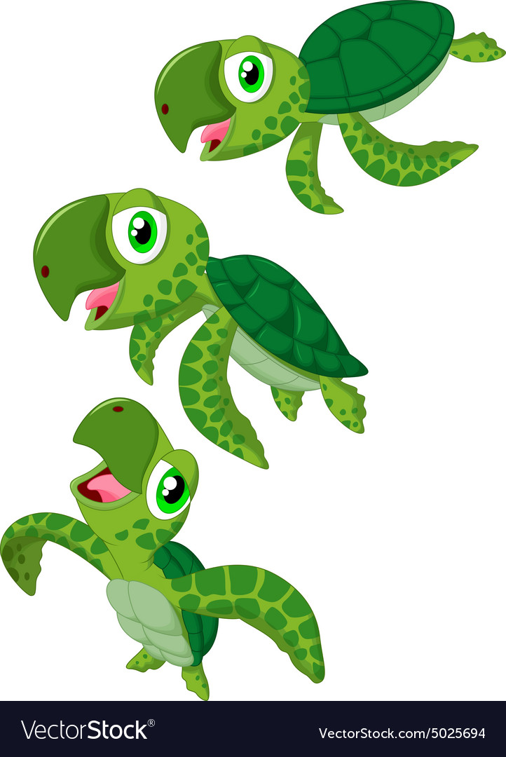 cartoon sea turtle royalty free vector image vectorstock