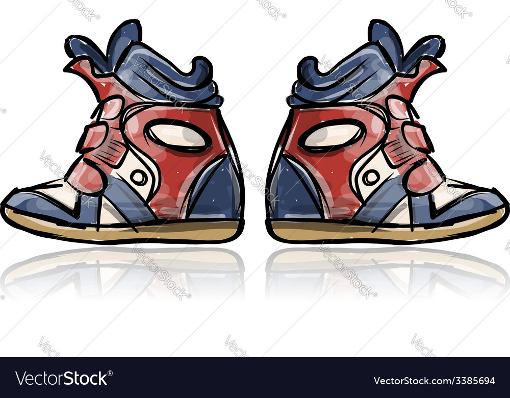 Female sneakers sketch for your design vector image