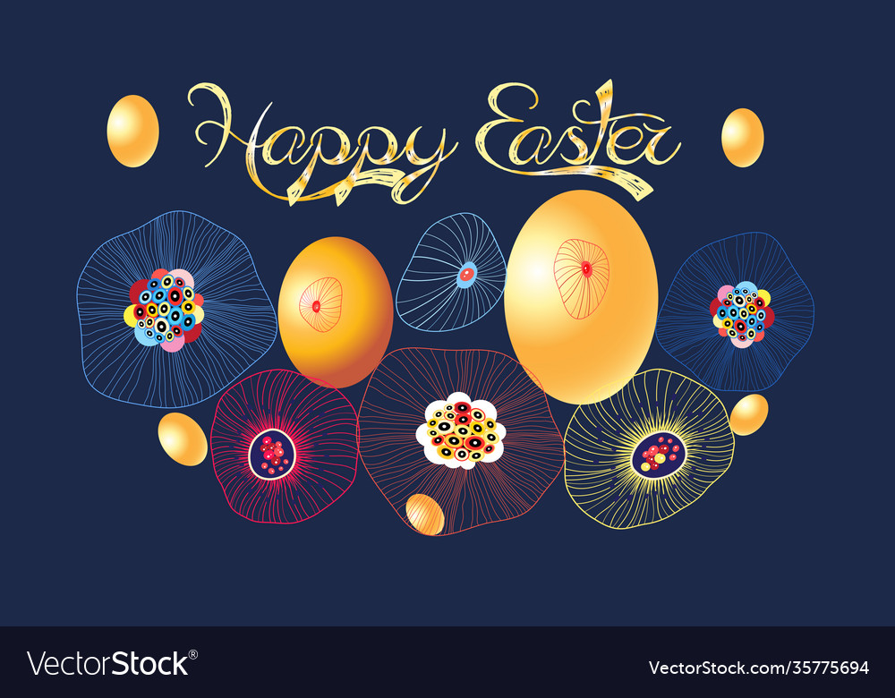 Festive spring card for easter with eggs and