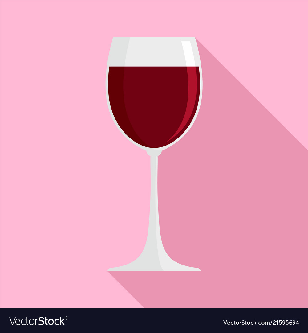 Glass of red wine icon flat style