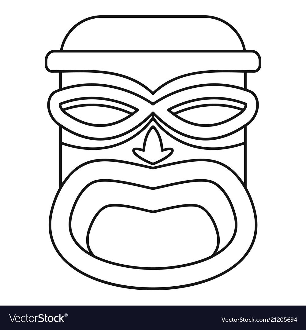 Hawaii wood tiki idol icon outline style