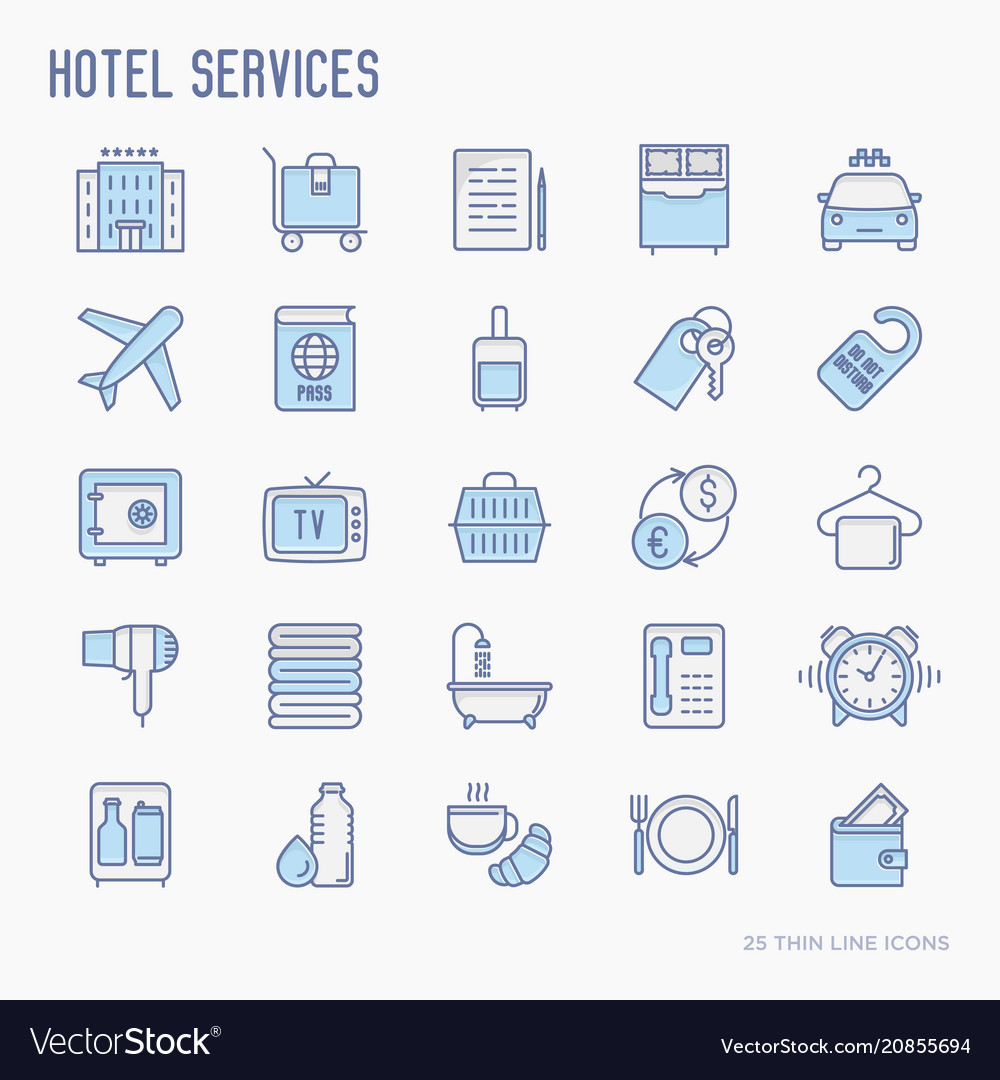 Hotel services thin line icons set