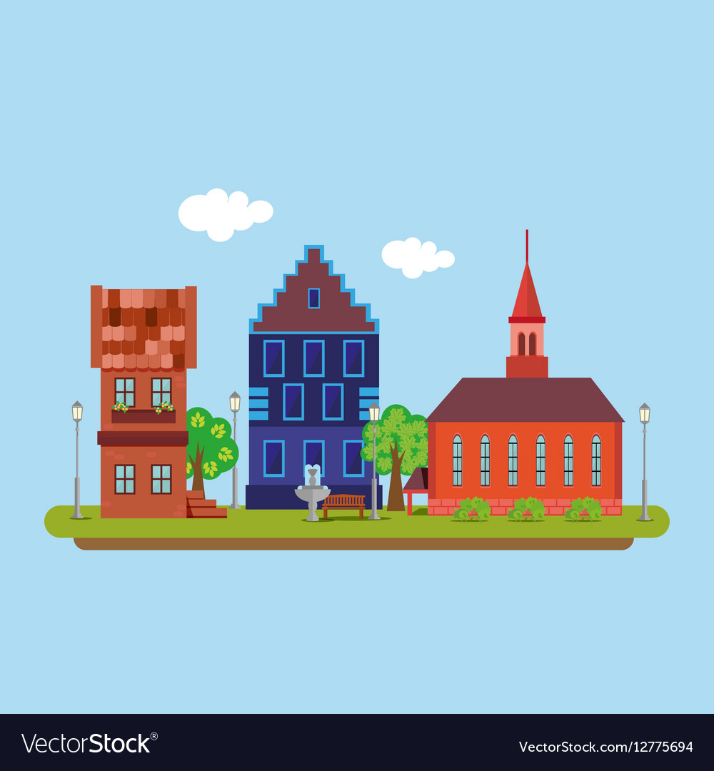 Image of a country town in a flat style Urban