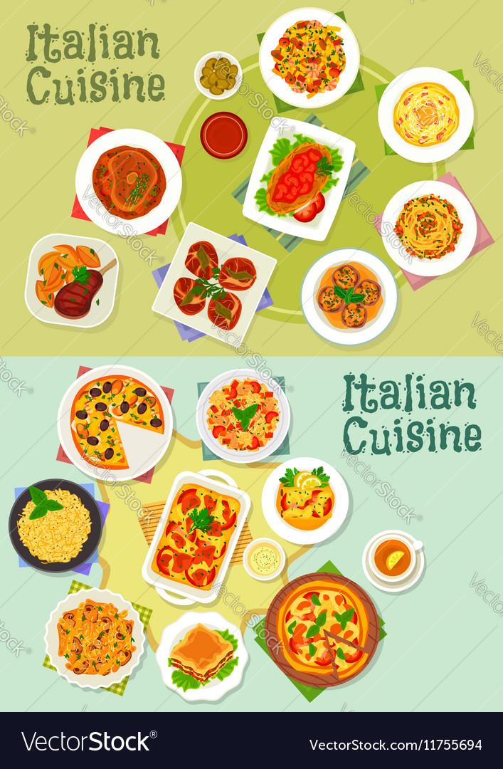 Italian cuisine pasta and pizza dishes icon vector image
