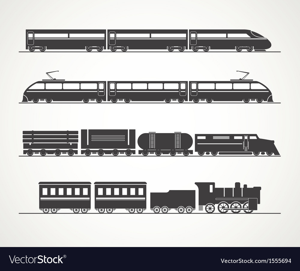 Modern and vintage train silhouette collection vector image