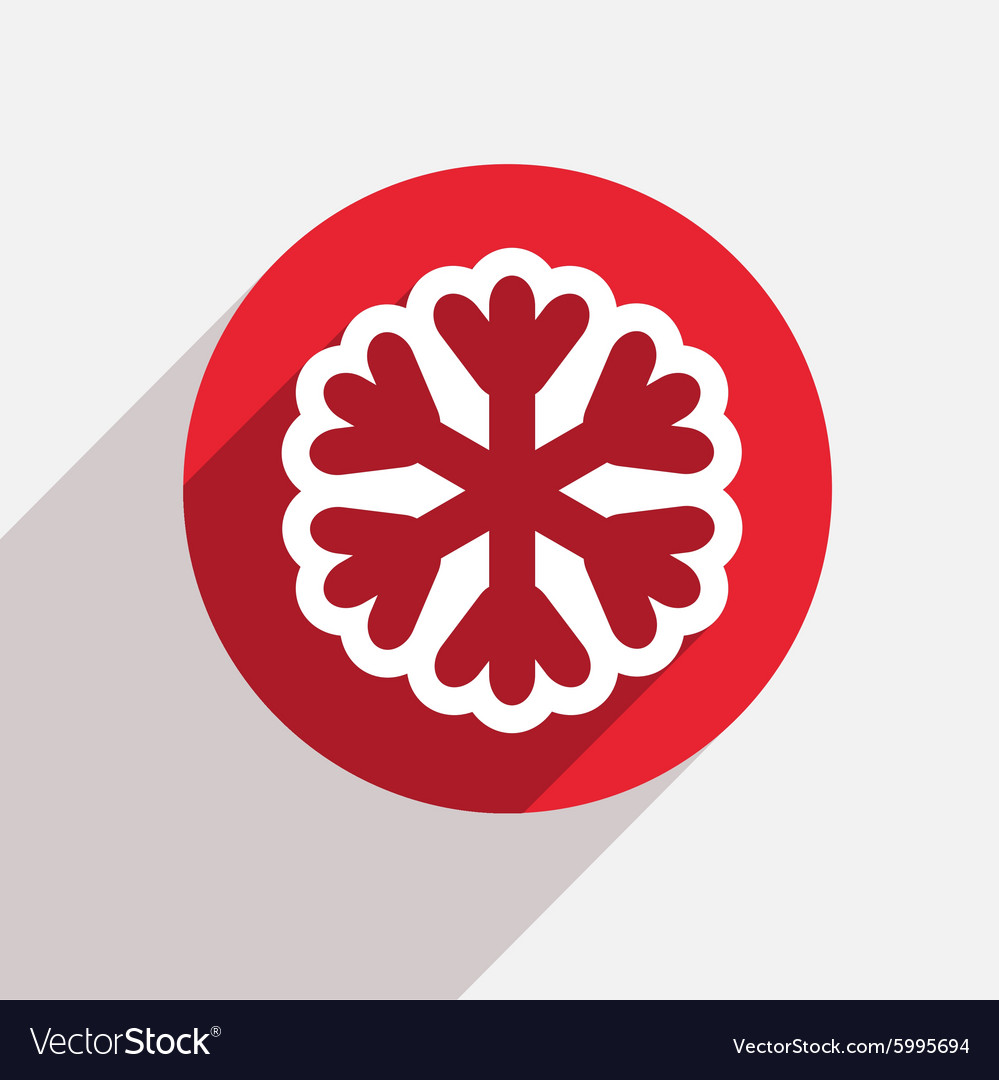 Modern snowflake red circle icon vector