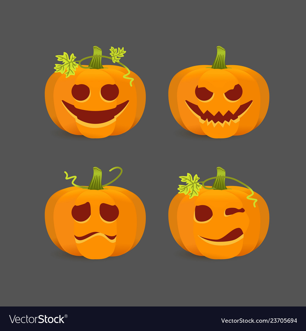 Orange halloween pumpkins with carved emotional