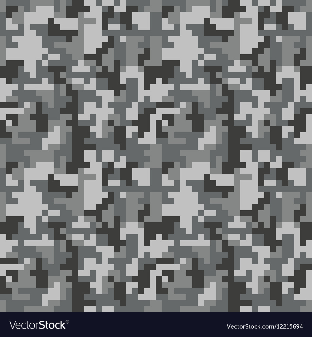 Pixel camo seamless pattern Grey urban camouflage vector image