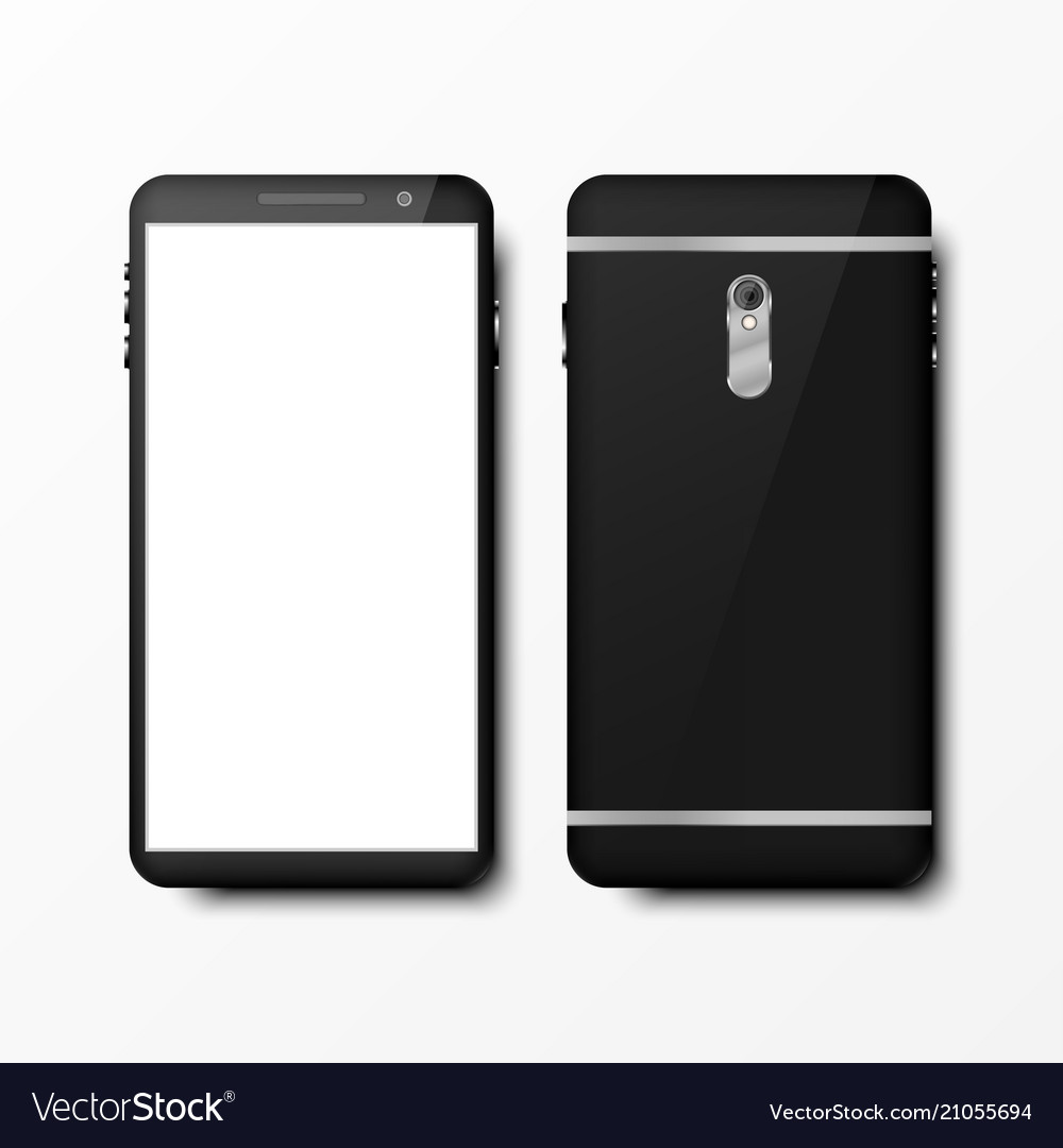 Realistic 3d black smartphone mockup front and