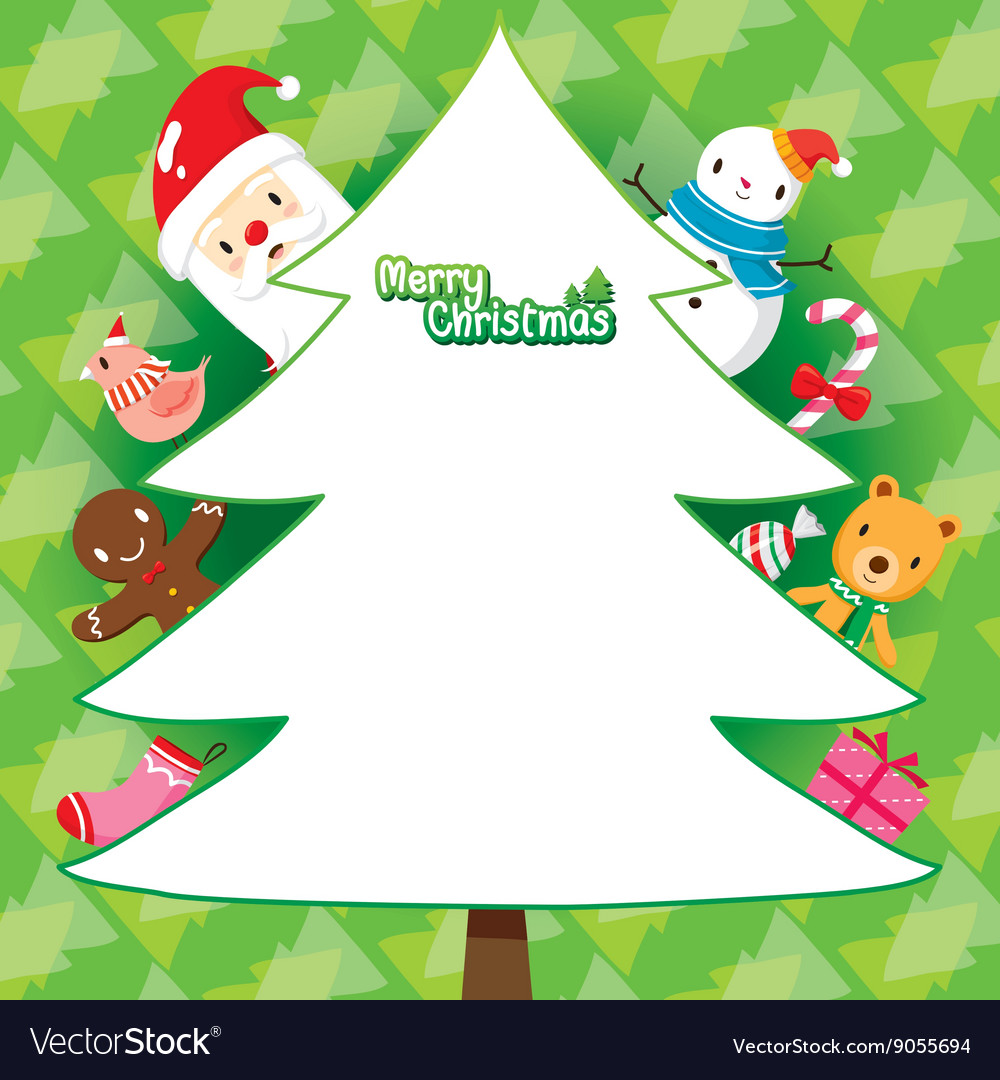 Christmas Trees Background Clipart.Santa And Christmas Tree On Green Background