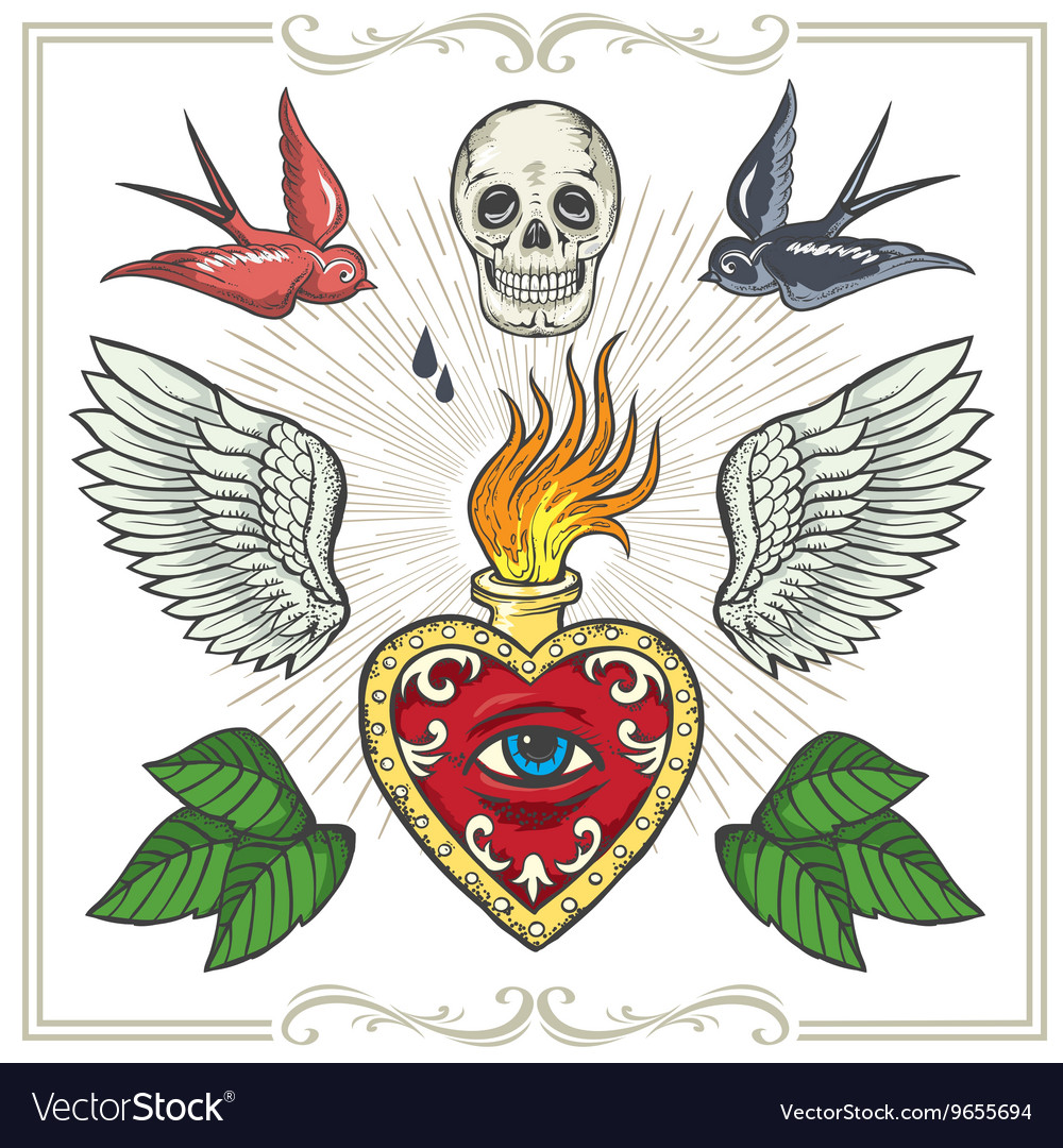 Set of Tattoo-art design elements
