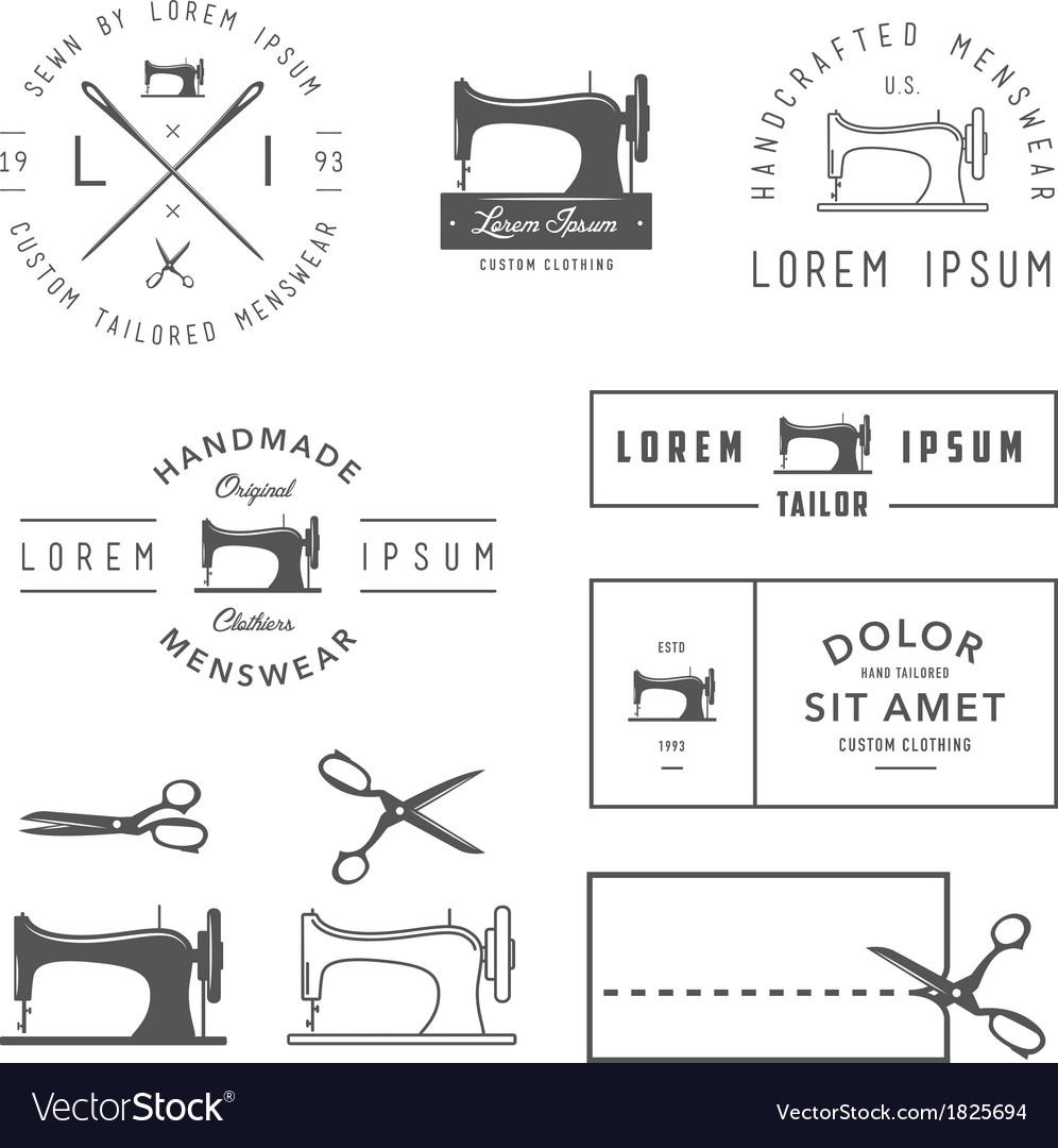 Set of vintage tailor design elements