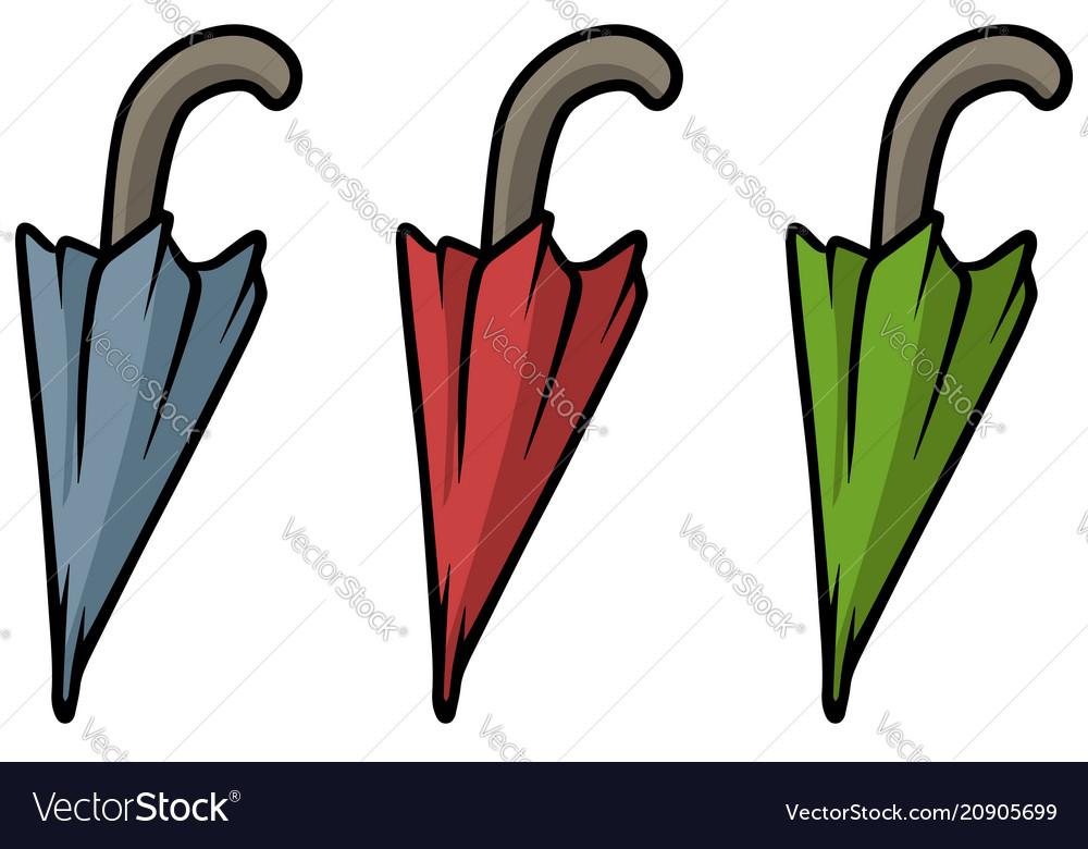 Cartoon colored umbrella icon set
