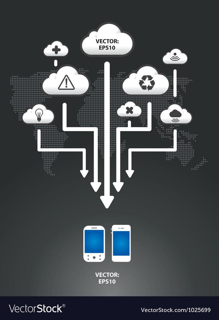 Cloud infographic arrow graph