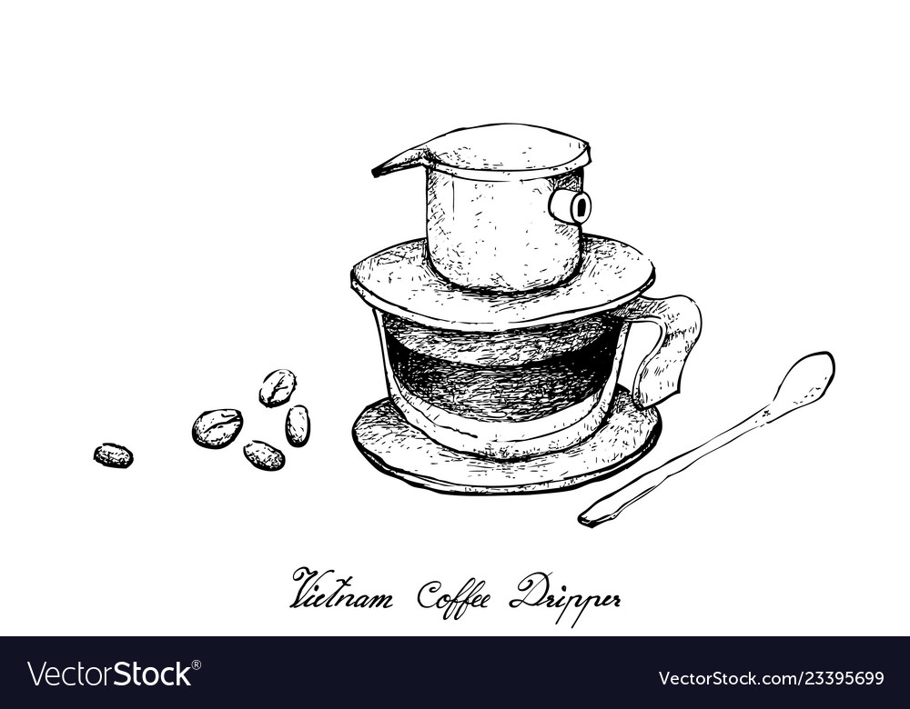 Hand Drawn Of Vietnam Coffee Dripper With Coffee B Vector