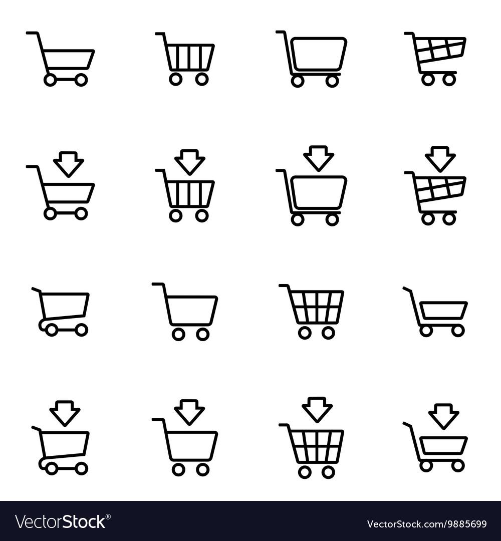 Line shopping cart icon set