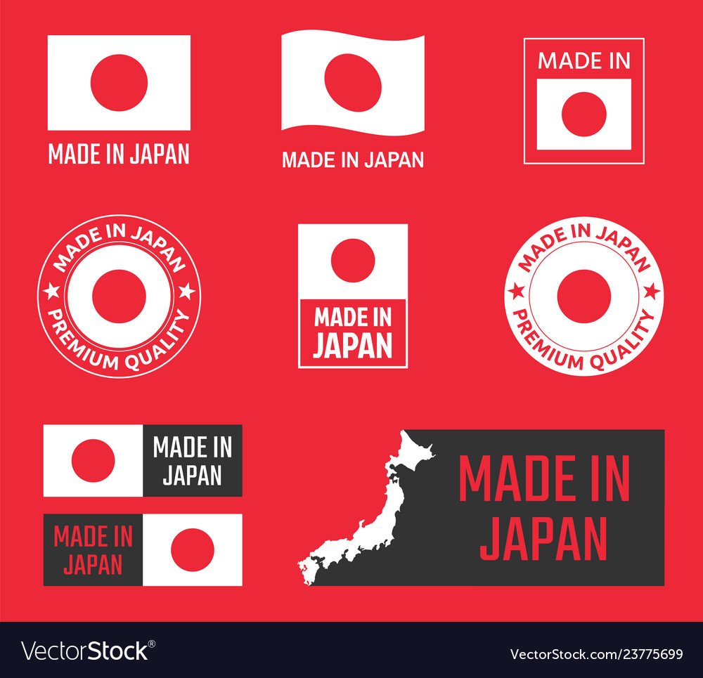 Made in japan icon set japanese product labels