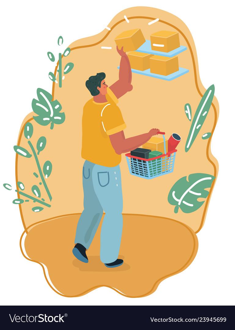 Man with shopping market basket