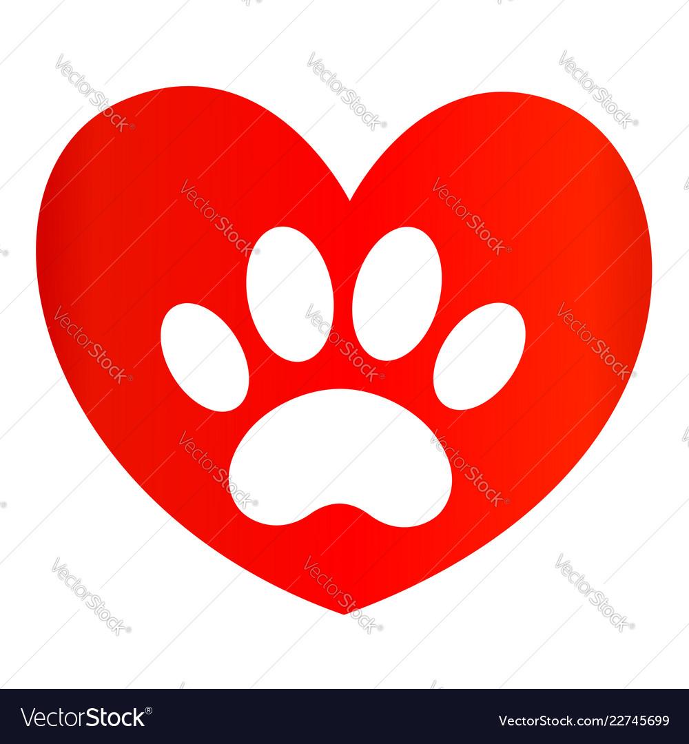 Paw print on red heart icon logo symbol