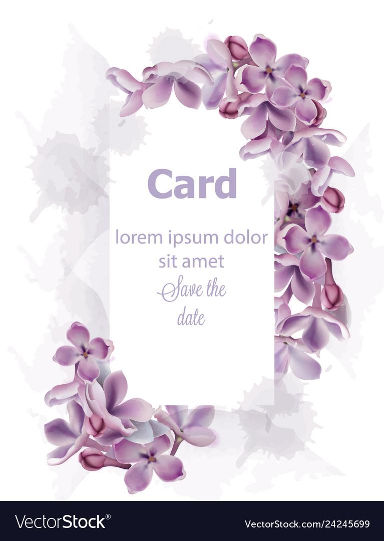 Purple lilac flowers card invitation