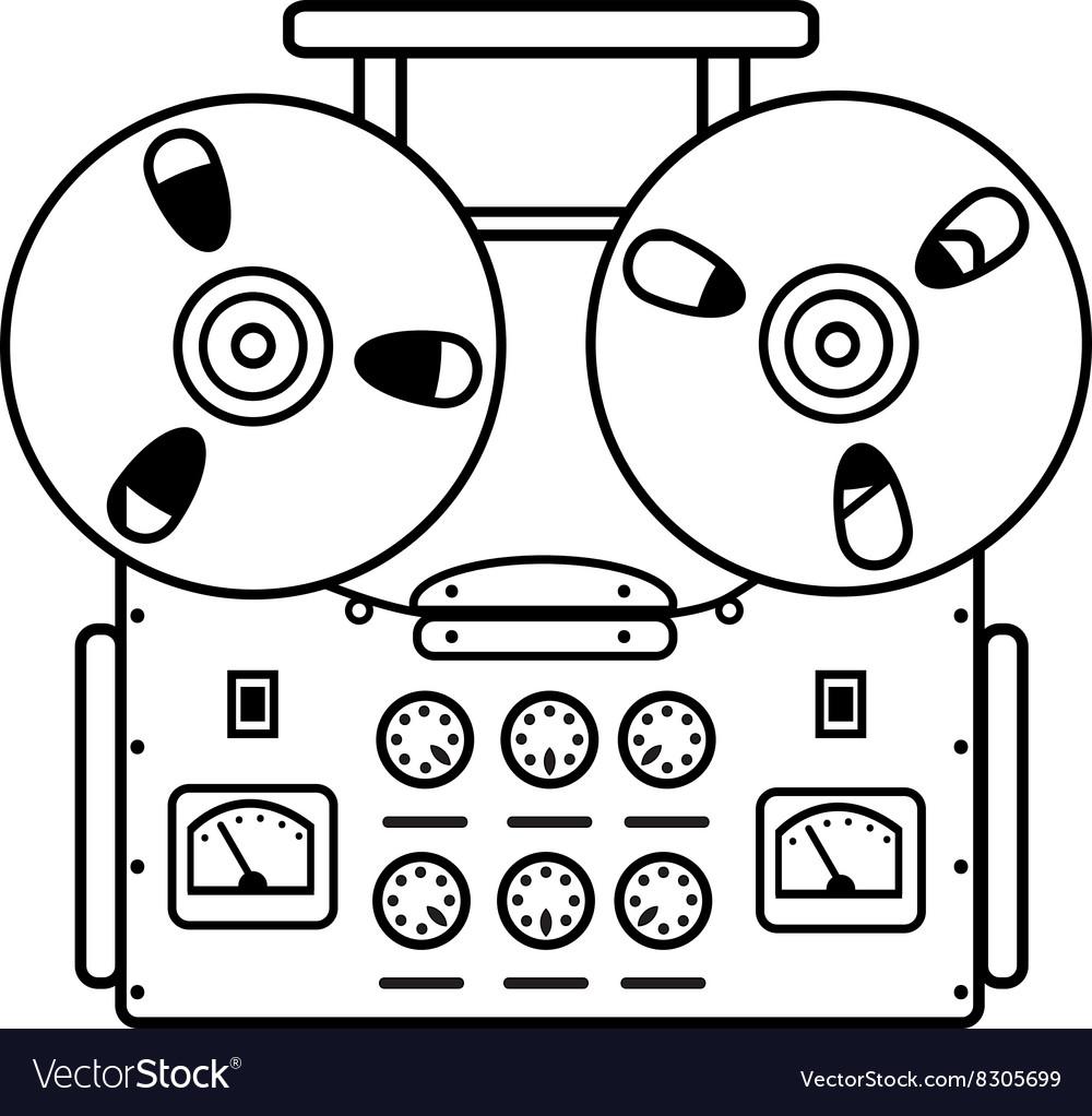 Reel tape recorder on white background