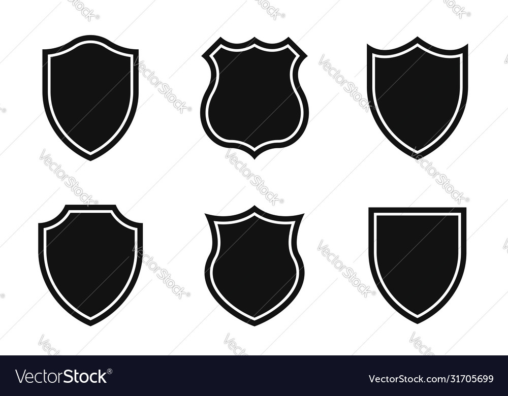 Set shields in different shapes conceptual