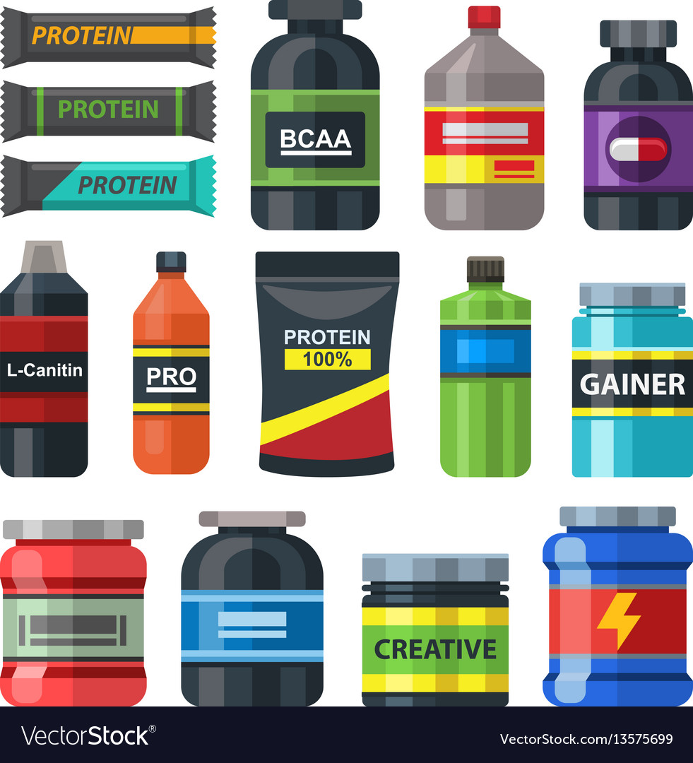 Sports food gym nutrition icons set packs