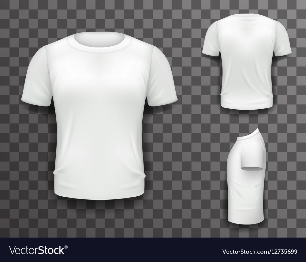 4777259301e3c6 T-shirt Front Side Back View Template Realistic 3d vector image