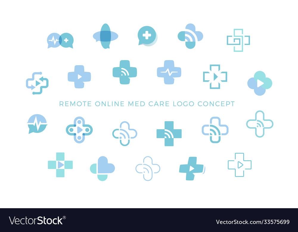 Telemedicine icons set medical cross sign