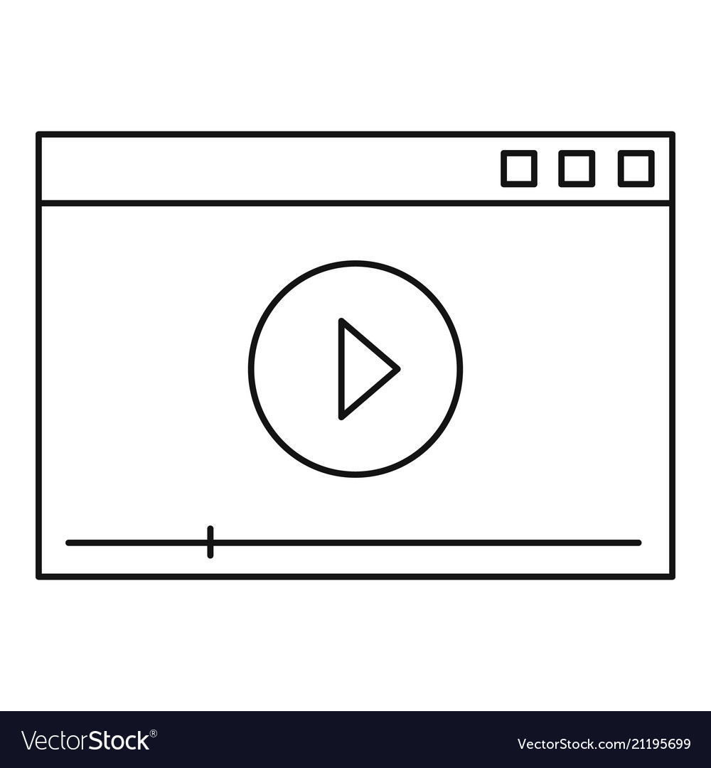 Video play icon outline style