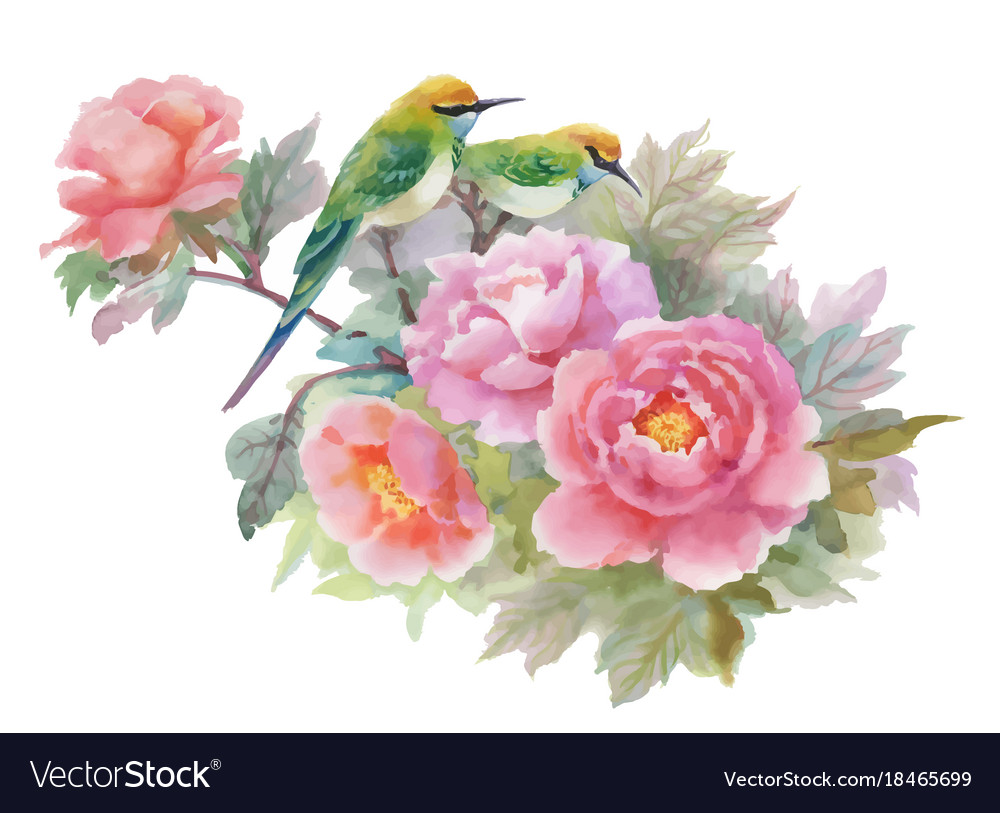 Watercolor hand drawn colorful beautiful flowers