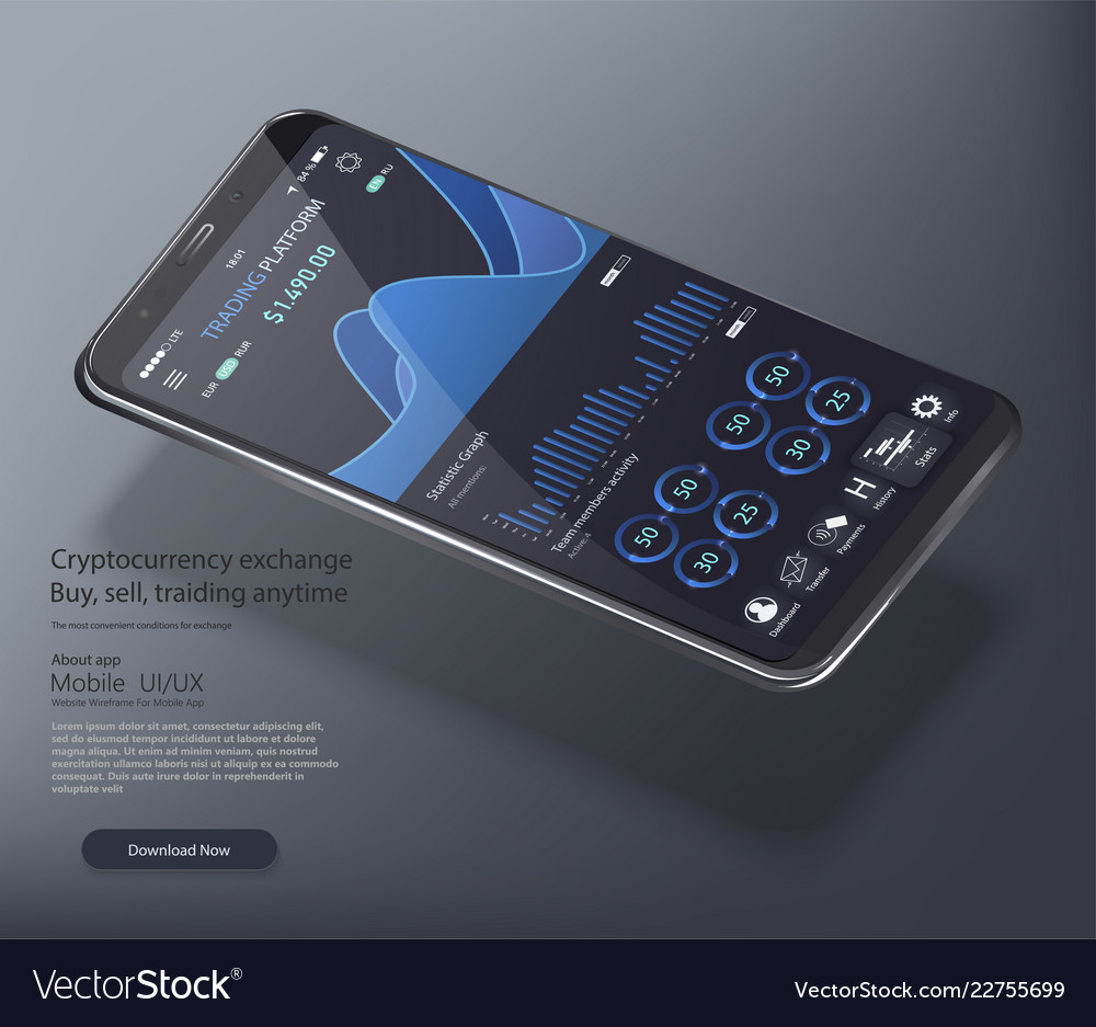 Web banner mobile stock trading concept