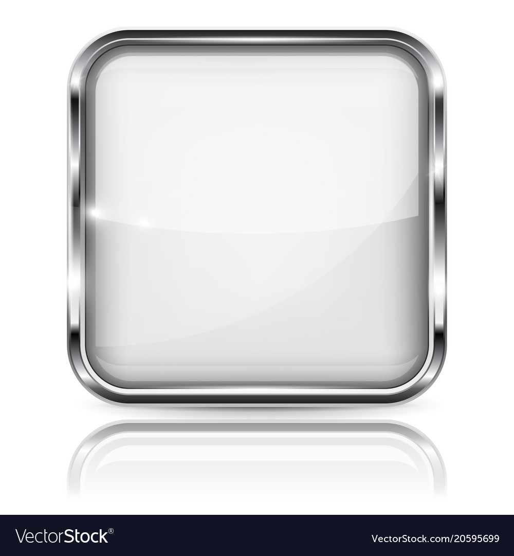 White glass 3d button with metal frame square Vector Image