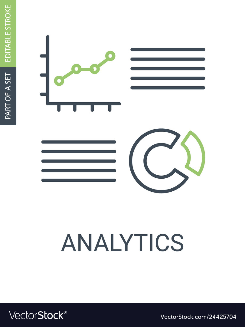 Analytics charts icon with outline style