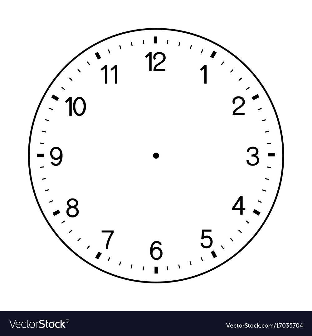 Blank Wall Clock Face On White Background Vector Image