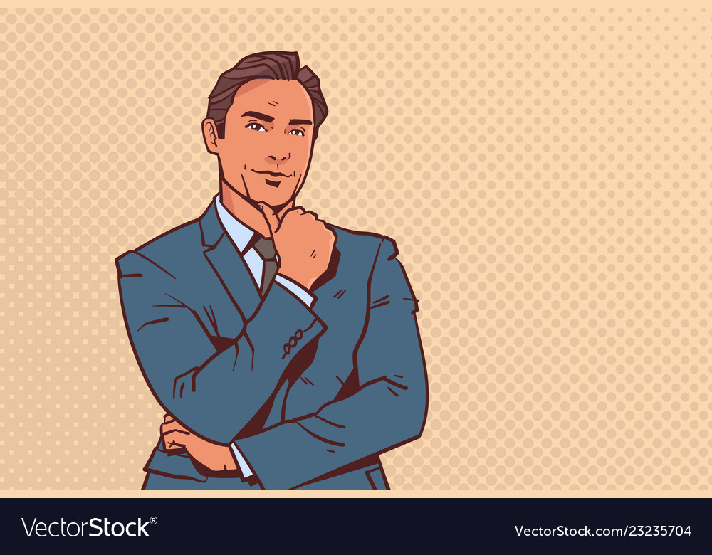 Man Hand On Chin Think Vector Images 43