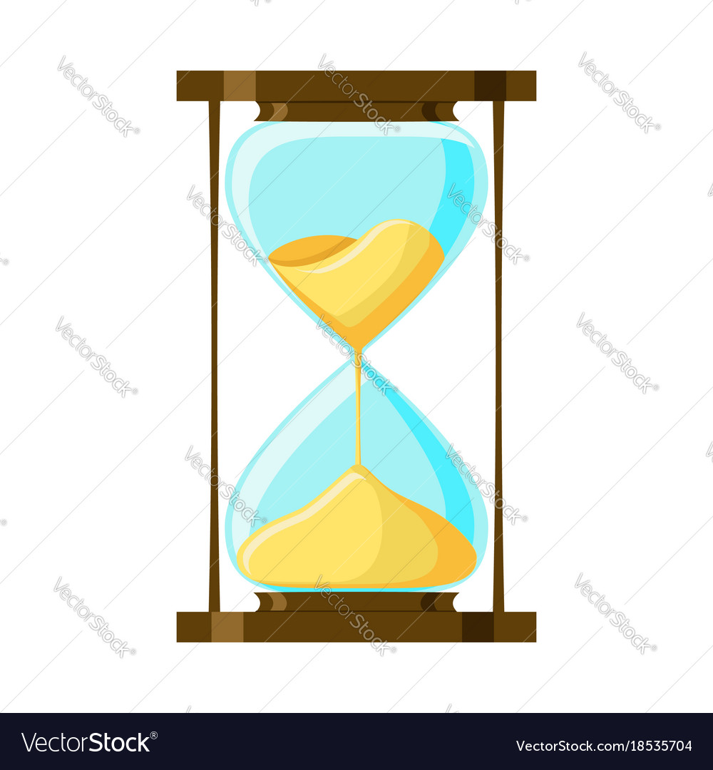 Cartoon hourglass isolated on white background vector image