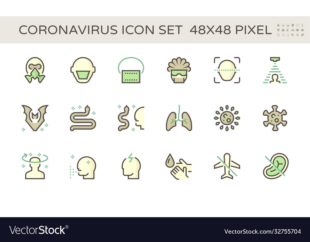 Coronavirus and illness icon set design 48x48