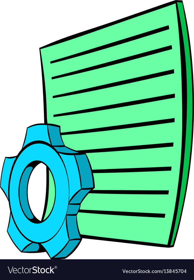 Gear wheel and sheet of paper icon cartoon