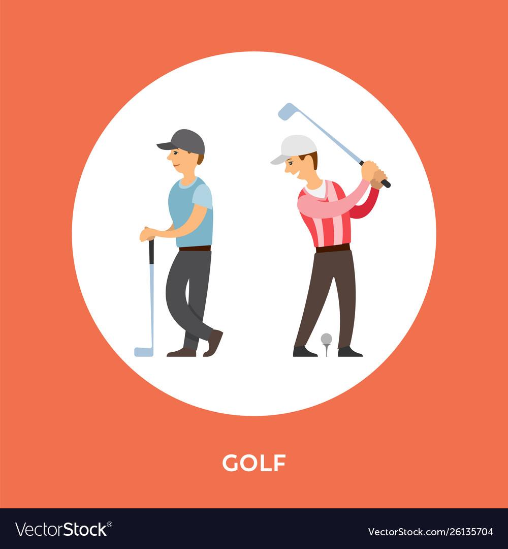 Golf players cartoon characters tee stick