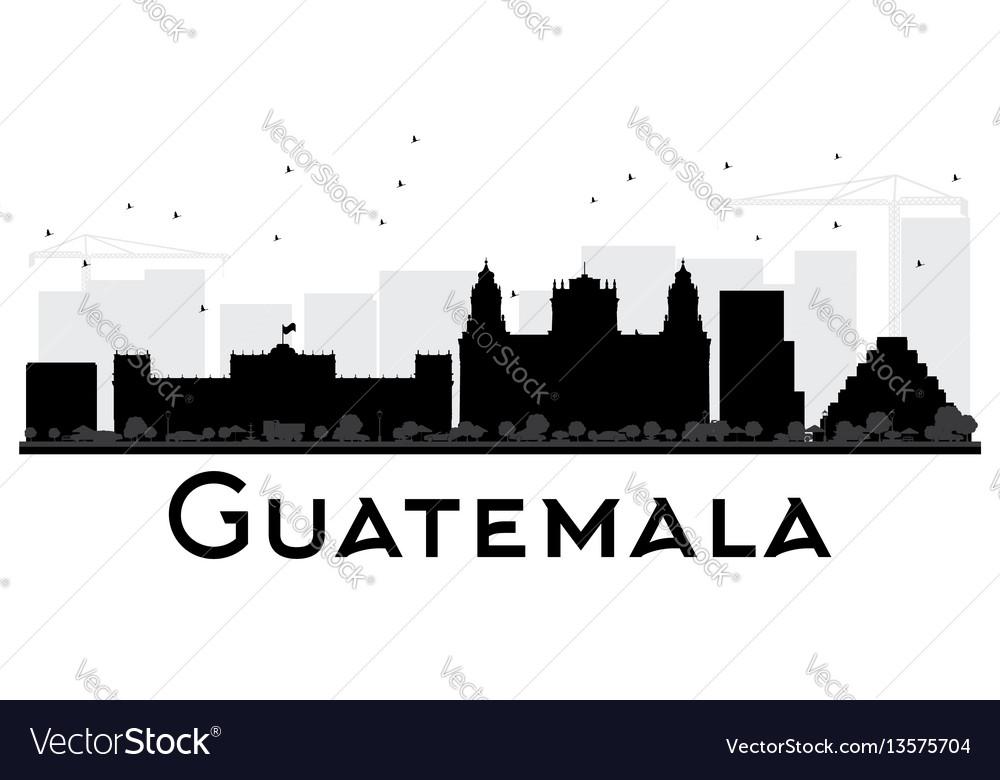 Guatemala city skyline black and white silhouette vector image