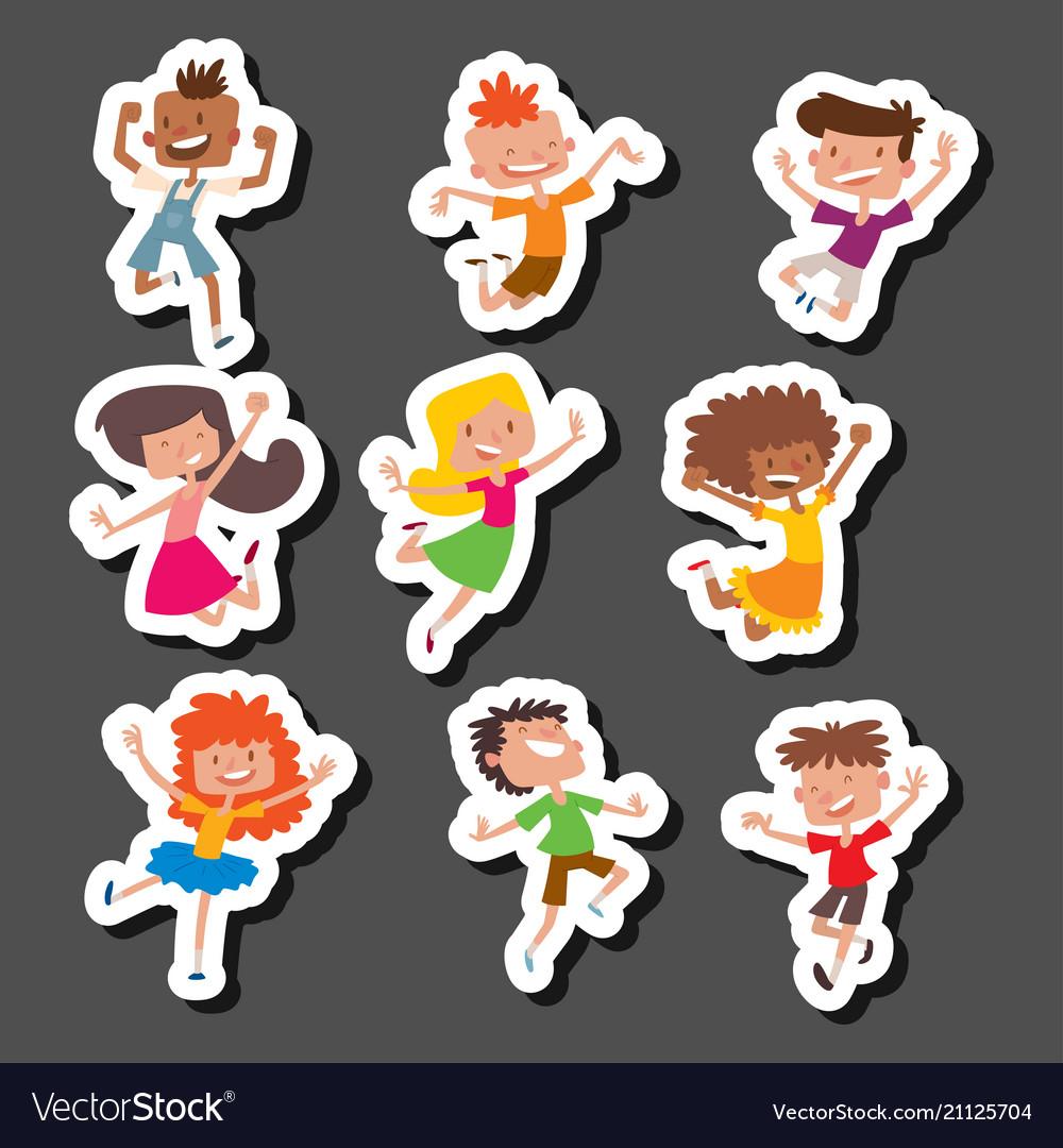 Happy children in different positions big